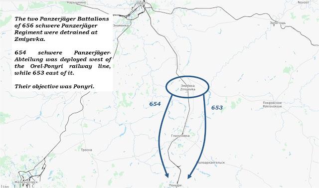 Planned advances of schwere Panzerjäger Abteilung 653 & 654