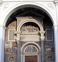 The beautiful entrance facade to  the cathedral in Aosta