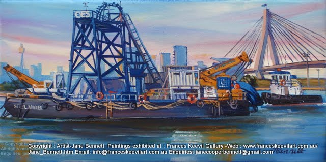 oil painting  of tug and barge at White Bay wharf with Jackson's Landing Pyrmont and the Anzac Bridge in the background by artist Jane Bennett