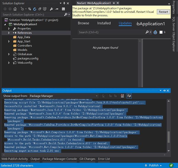 Restart Visual Studio Message
