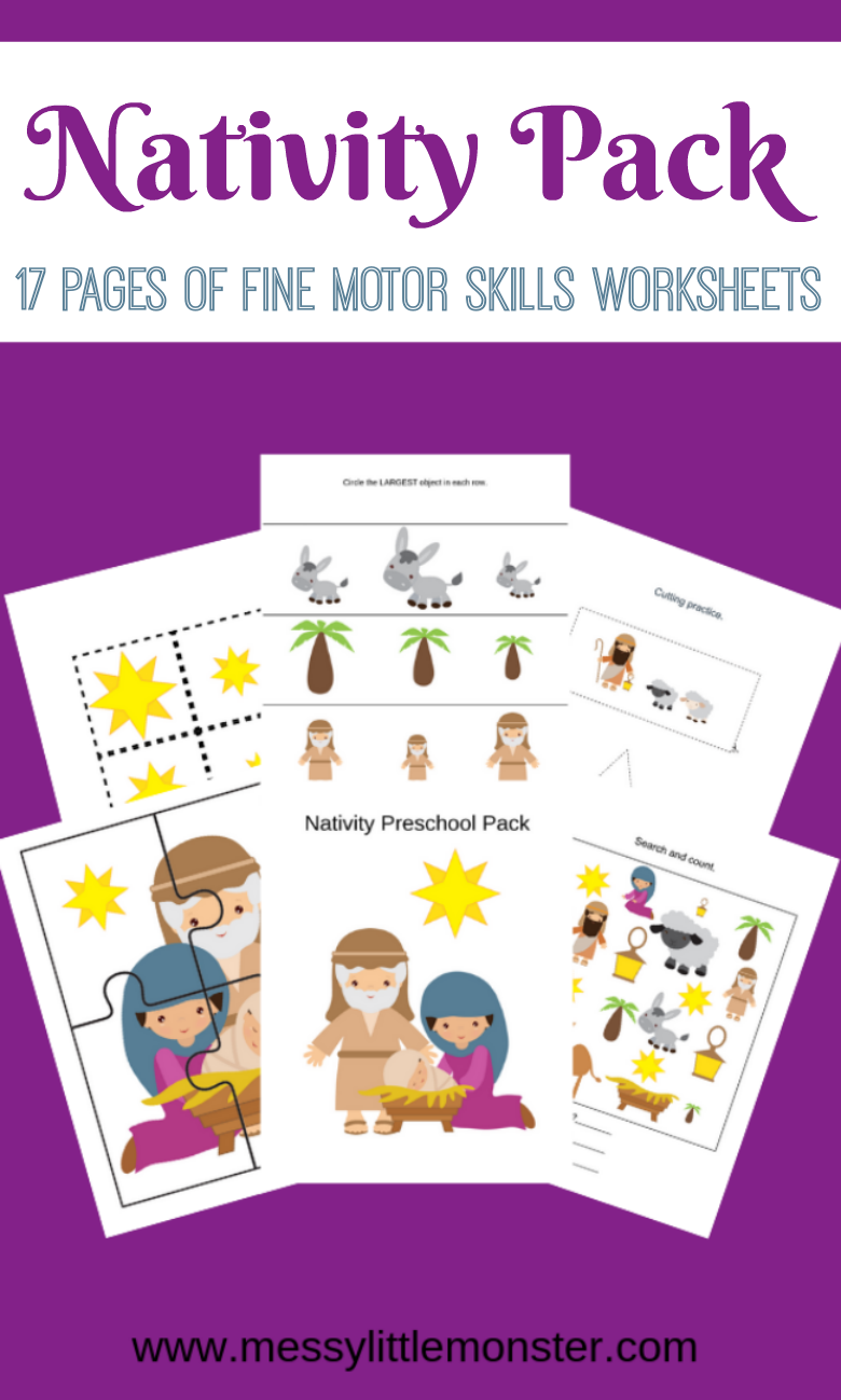 Nativity activities for preschoolers. Fine motor skills worksheets. Christmas activities for kids.