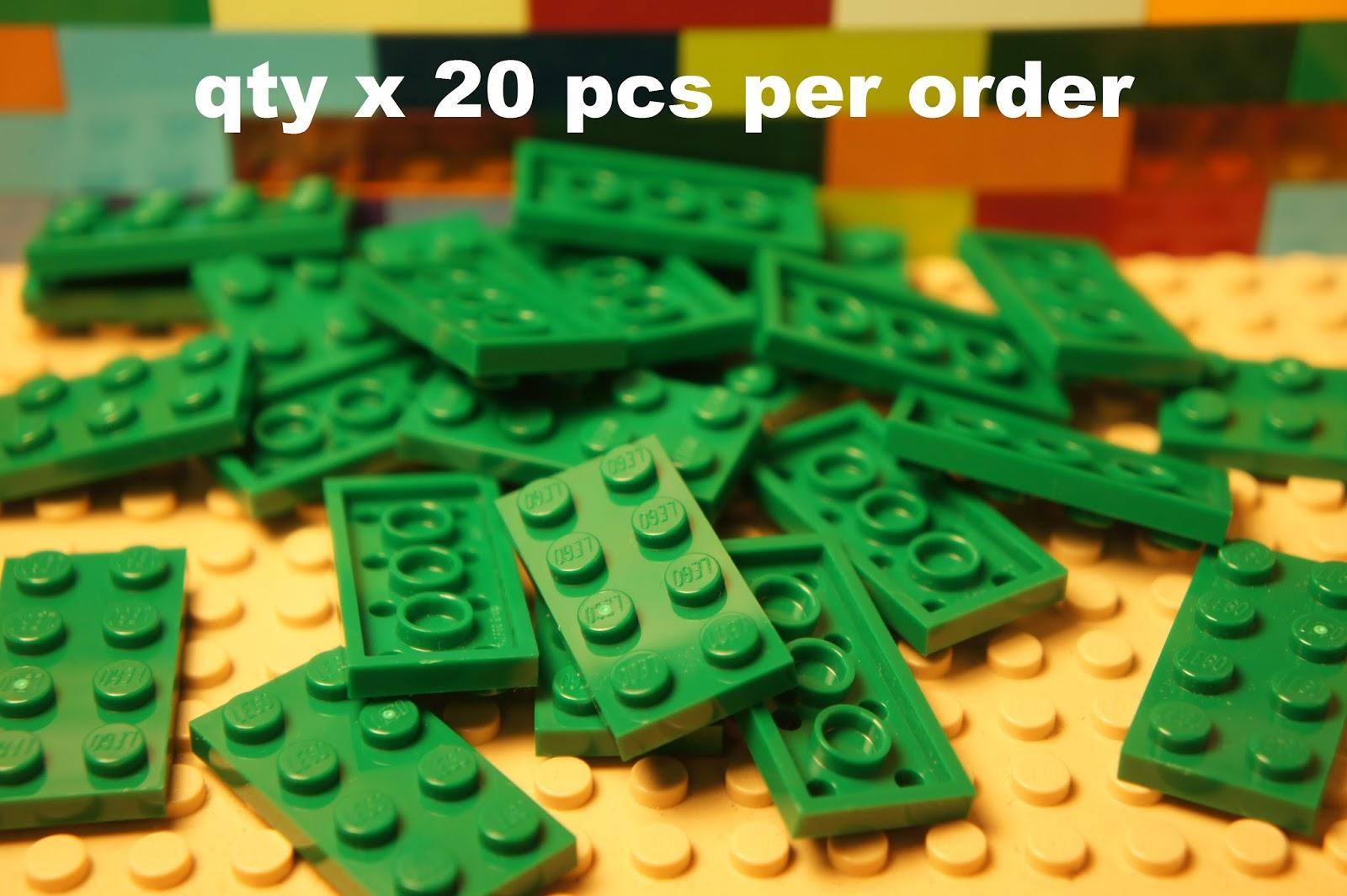 LEGO 3020 Plate 2x4 Brillante Verde QTY x 15 Nuovo di Zecca