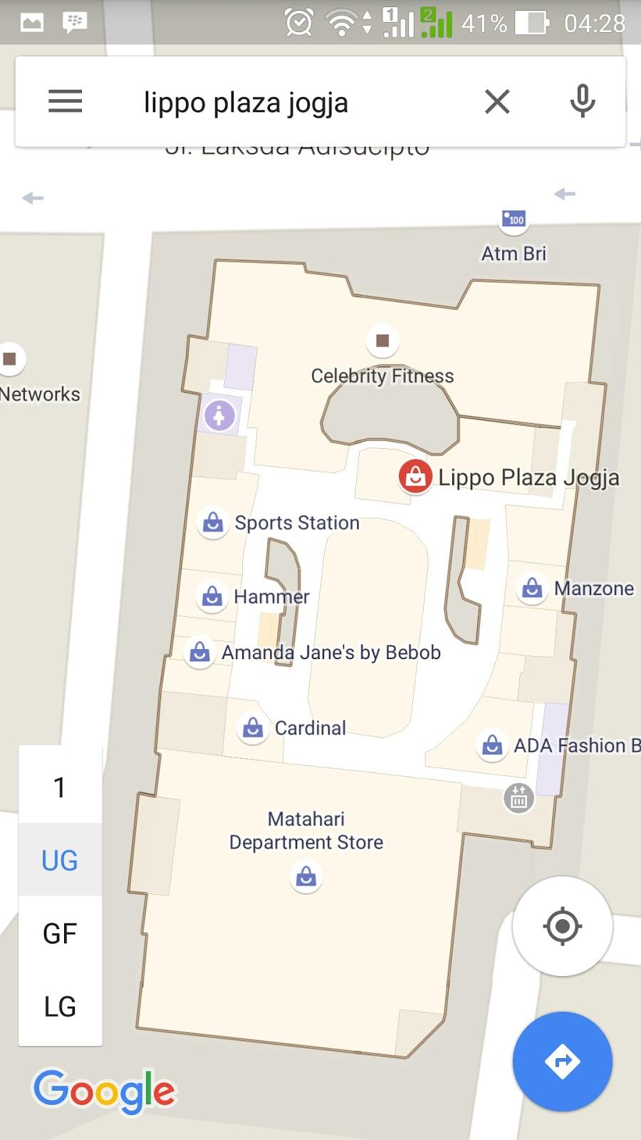 Google map indoor Lippo plaza Jogja