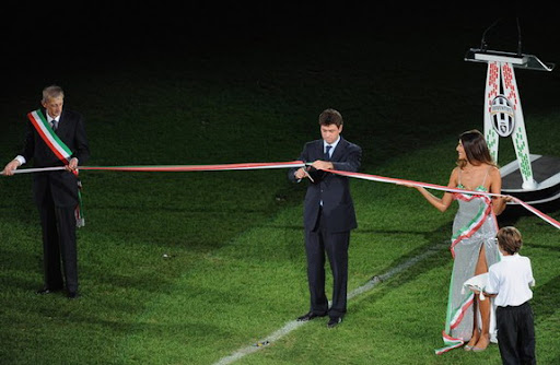 Juventus president Andrea Agnelli cuts the ribbon during the inauguration of their new stadium