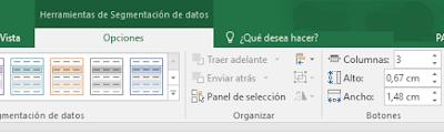 """Configuración de columnas para """"botones""""."""