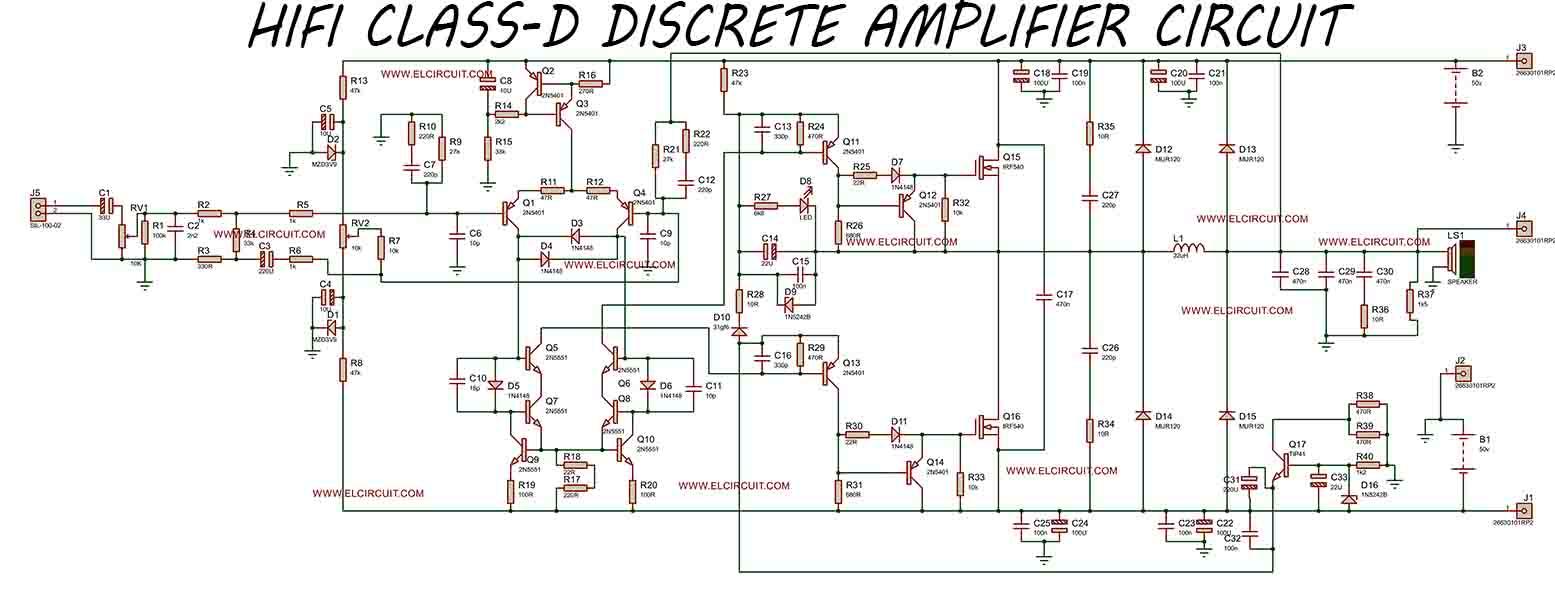 hight resolution of hifi class d discrete power amplifier circuit