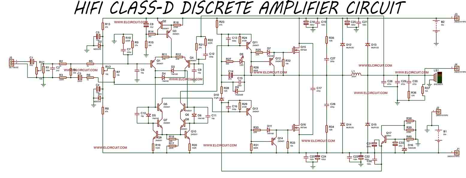small resolution of hifi class d discrete power amplifier circuit
