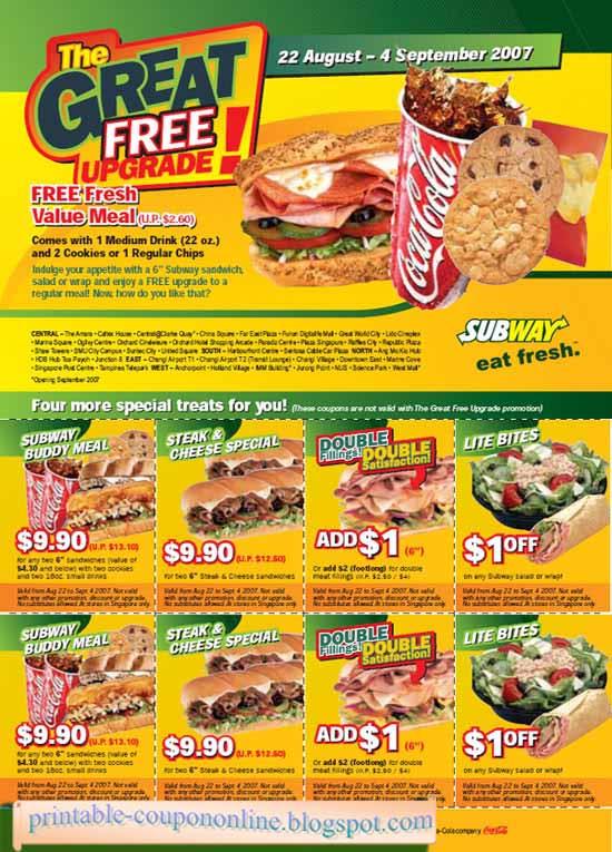 subway menu promotion