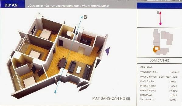 thiết kế mẫu căn số 9 chung cư 34 Cầu Diễn