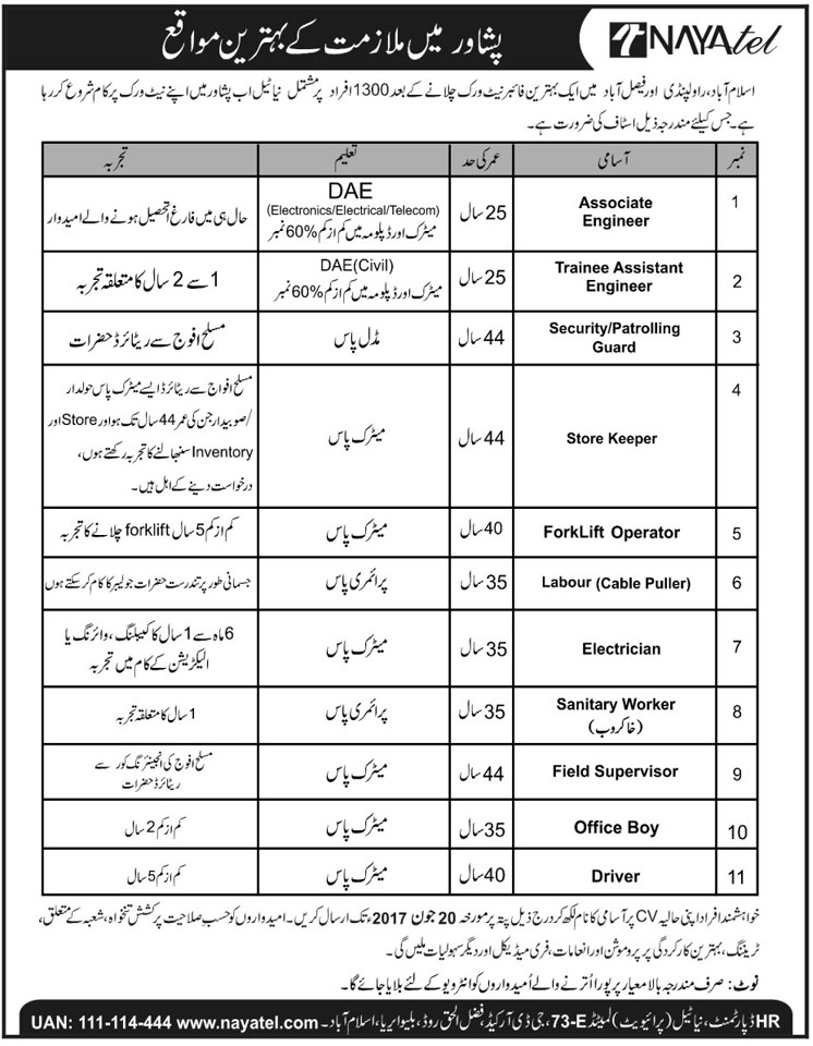 Jobs in Nayatel Rawalpindi, Islamabad and Faisalabad  11 June 2017