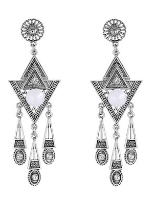 Pair of Triangle Rhinestone Drop Earrings