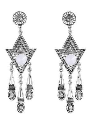 Pair of Triangle Rhinestone Drop Earrings