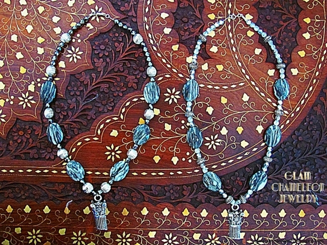 Glam Chameleon Jewelry zembra jasper necklaces with metallic elements