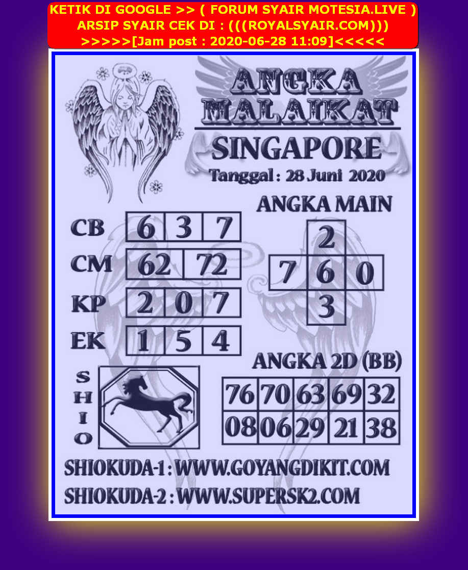 Kode syair Singapore Minggu 28 Juni 2020 85