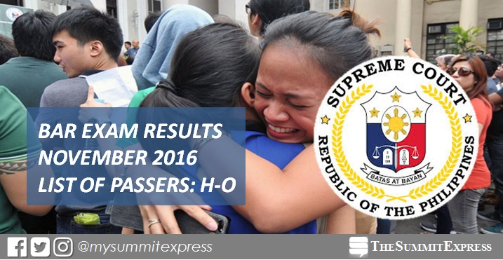 H-O List of Passers: 2016 Philippine Bar Exam Results