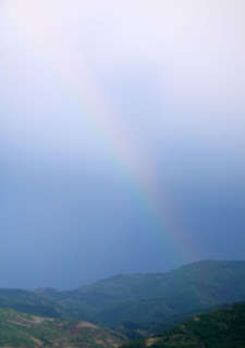 A very faint rainbow