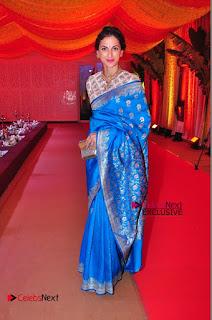 Actress Model Shilpa Reddy Exclusive Stills in Blue Saree at Vijay Karan Aashna Wedding  0052.JPG