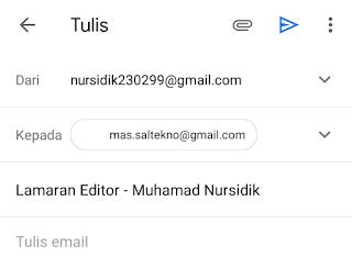 mengisi email perusahaan dan subjek