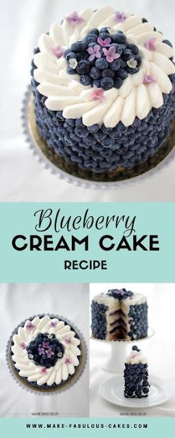 Blueberry Cream Cake Recípe