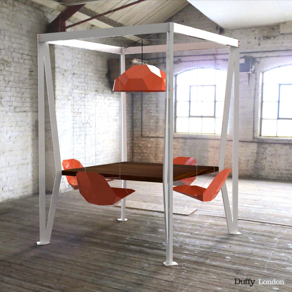 ... king arthur round swing table with coloured seats