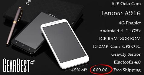 """Οκταπύρηνο Lenovo A916 5.5"""", Gearbest"""