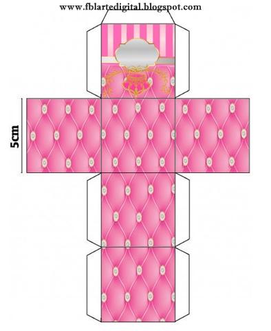 Cajas  Cubo de Corona Dorada en Fondo Rosa con Brillantes para imprimir gratis.