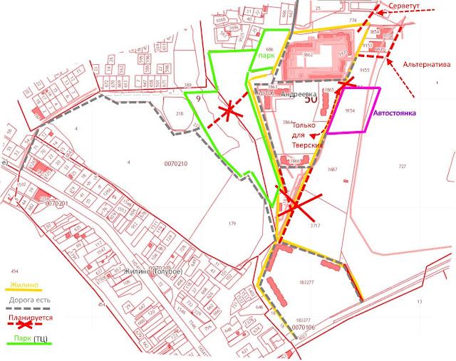 Схема планируемых проездов в ЖК Зеленоградском