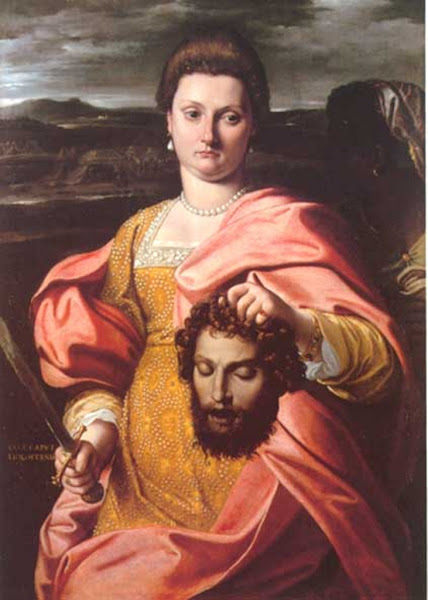 Portrait Of Olimpia Luna And Melchiorre Zoppio As Judith And Holofernes by Agostino Carracci, Macabre Paintings, Horror Paintings, Freak Art, Freak, Paintings, Horror Picture, Terror Pictures