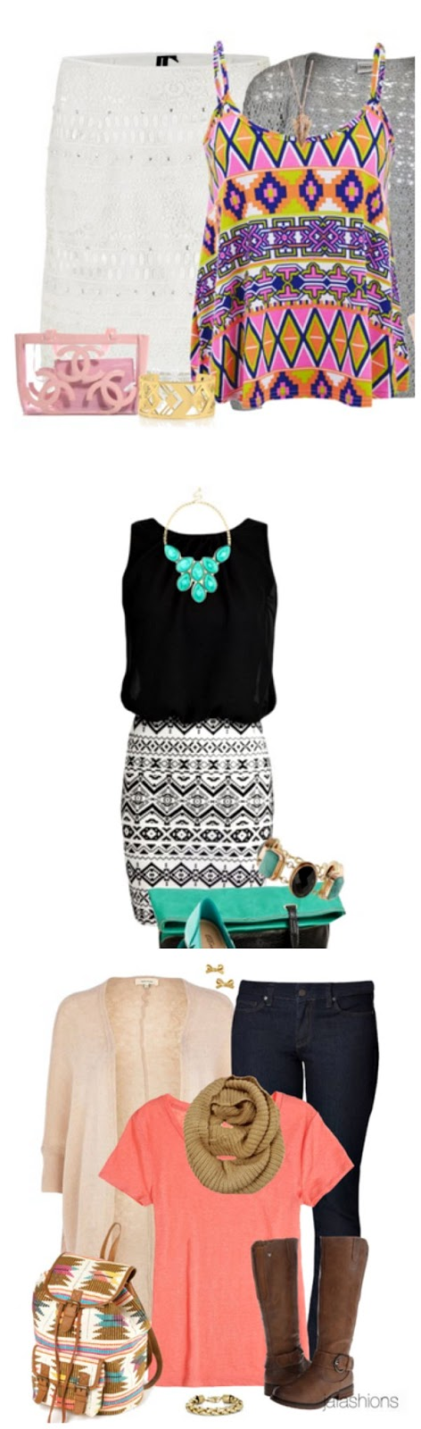 Aztec print outfits for spring.  Click through for sources. www.craftingintherain.com