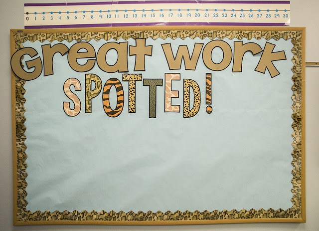 Great Work Spotted bulletin board is perfect for displaying student work.