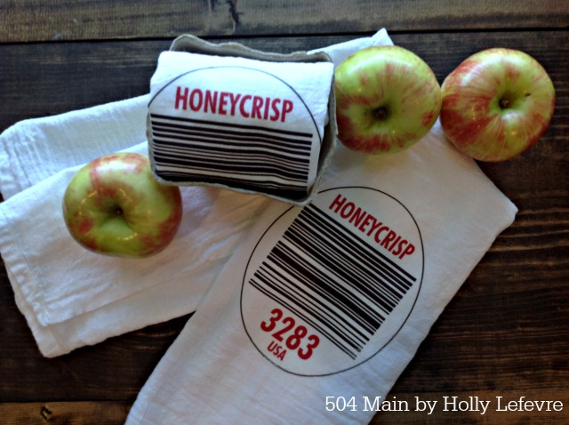Produce label sticker flour sack towels