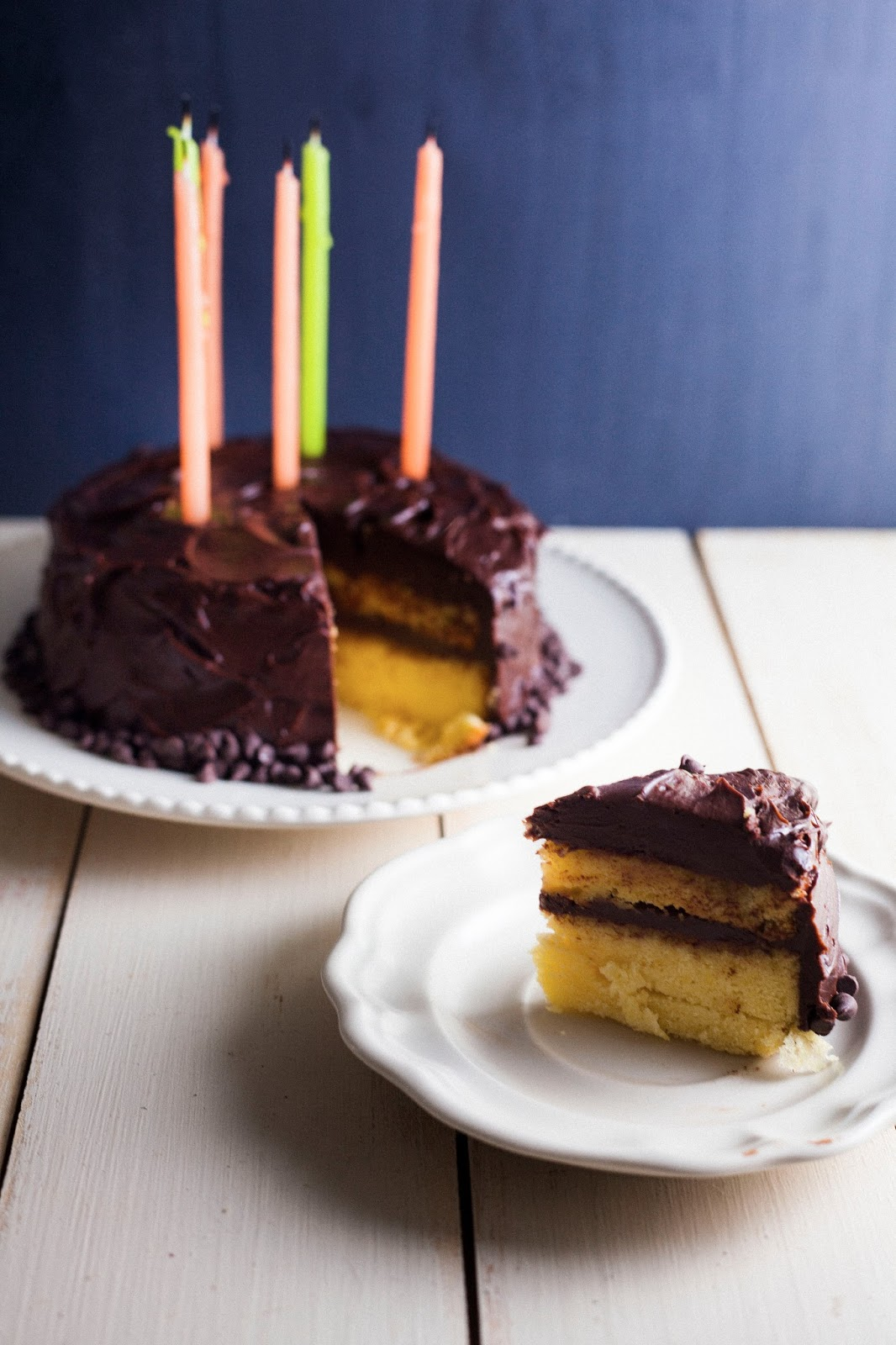 Yellow Birthday Cake with Chocolate Frosting (for Two ...