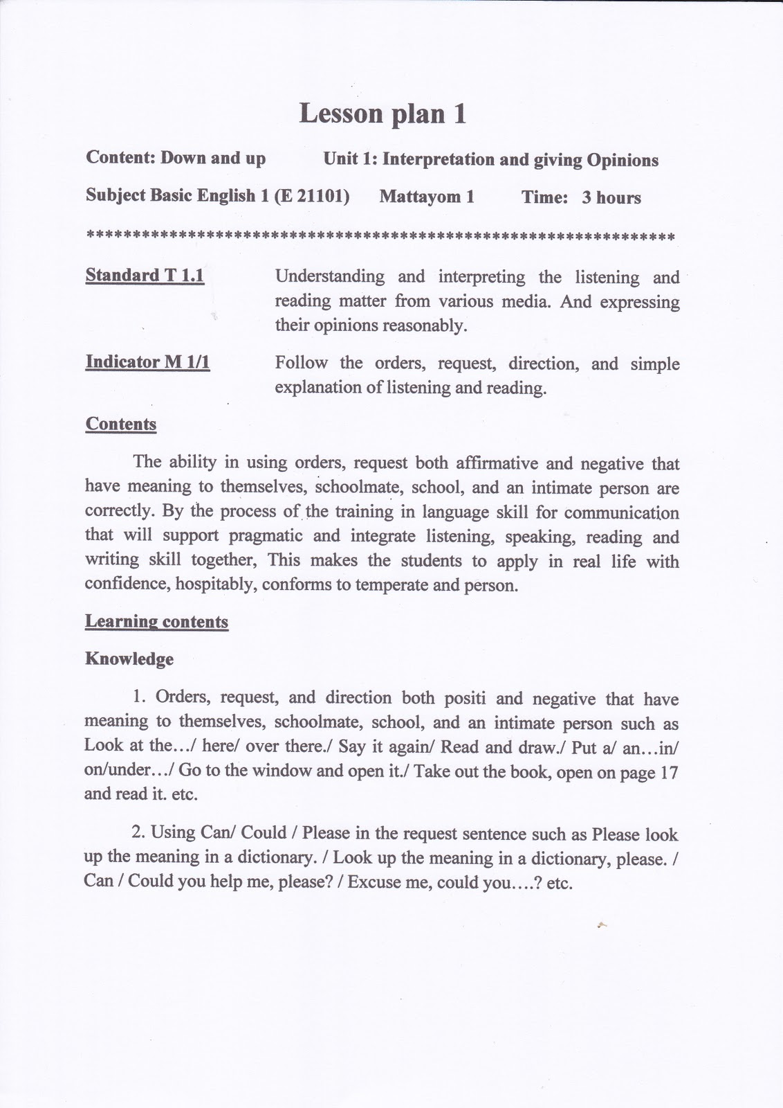 s5111114052: Lesson Plan in English