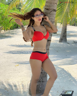 Neha Malik in Red Bikini Beautiful Actress Model Sizzling Spicy Bikini Pics .XYZ Exclusive 10