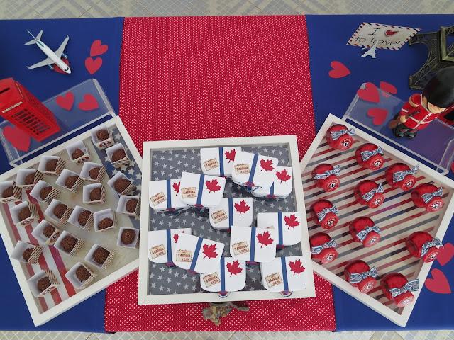 Detalhes da mesa com maletinhas de aniversário viagem, vidro vermelho doce e caixinhas viagem brigadeiro