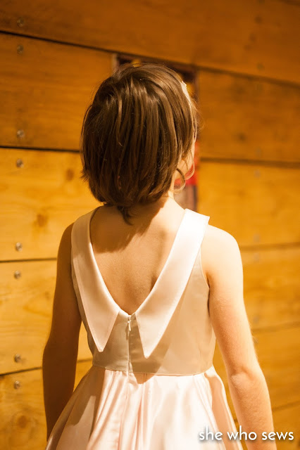 invisible zip in back bodice of silk dress