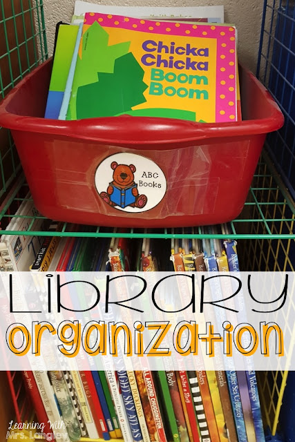 This post has ideas and pictures to set up your kindergarten or 1st grade classroom library. From where to get your books to how to level and display them. Examples of how students check out books, storage, organization, and fun labels to bring it all together!