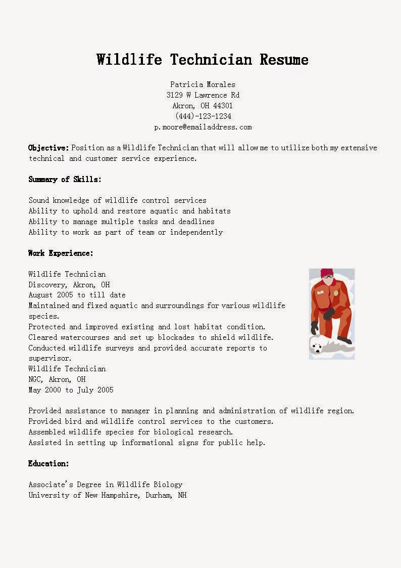 Resume samples wildlife technician resume sample for Wildlife management plan template