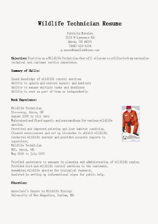 wildlife technician resume sample - Sample Wildlife Biologist Resume