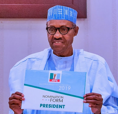 Buhari Submits Presidential Nomination Forms At APC Hdqrt.