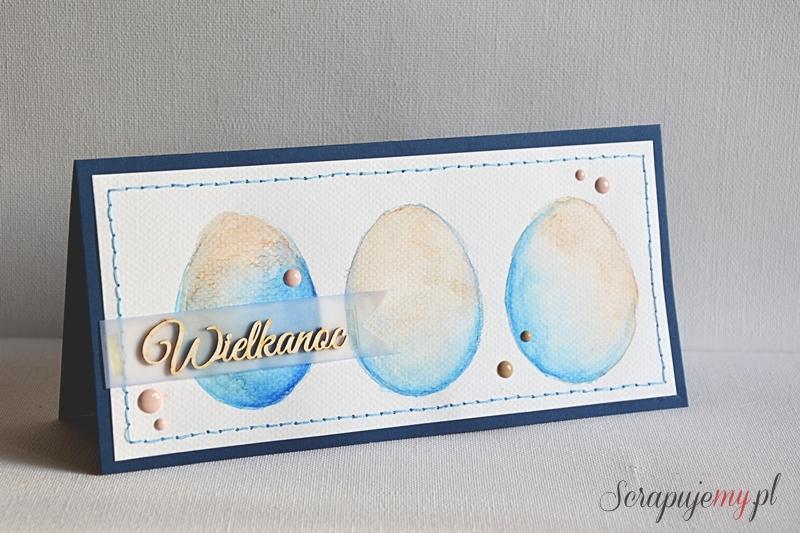 kartka wielkanocna nietypowe kolory, niebieska kartka wielkanocna