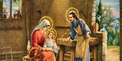 imagem de São José Operário com Maria e Jesus