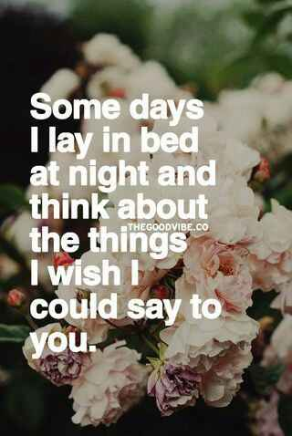 Some days I Lay in bed at night and think about the things I wish I could say to u..