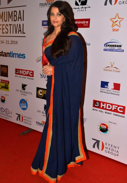 Aishwarya Rai in Dark Blue Sabyasachi Saree