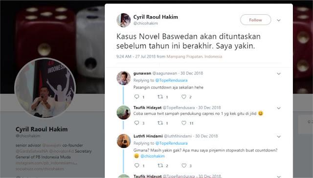 Sebut Kasus Novel Baswedan Akan Tuntas Sebelum Akhir Tahun, Chico Hakim Ketabok Tweet Sendiri