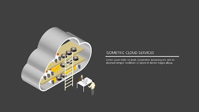 Free Infographic PowerPoint template with isometric cloud service.