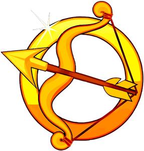 Imagen del arco y la flecha de color dorada como representacion de Sagitario