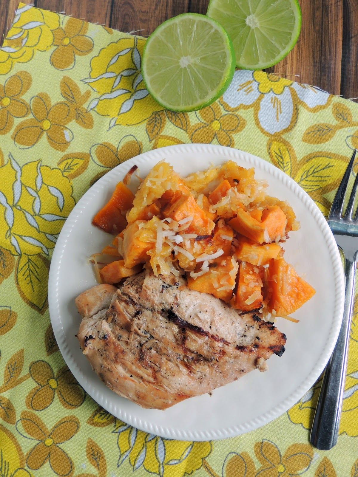Coconut-Lime Teriyaki Chicken with Roasted Coconut-Pineapple Sweet Potatoes via thefrugalfoodiemama.com
