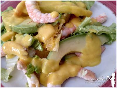 Ensalada de mango con cítricos y mayonesa de mango