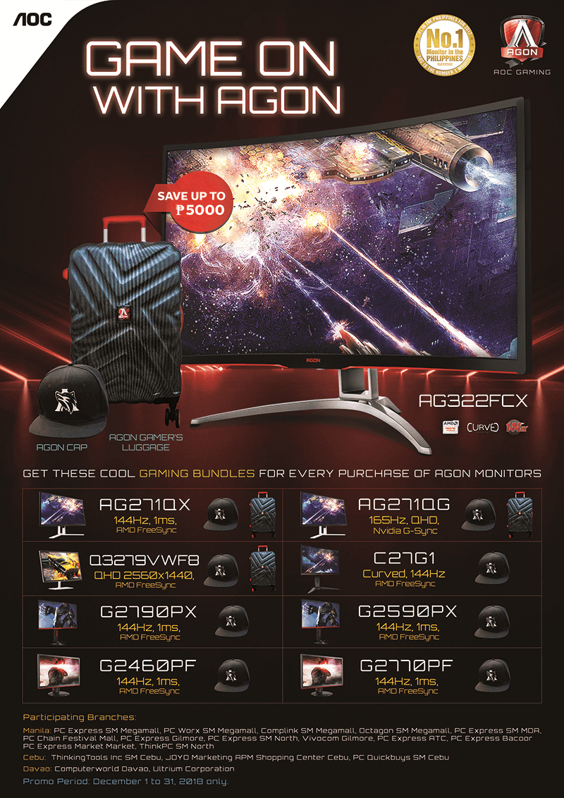 Check out AOC's promo deals for the AGON gaming monitors